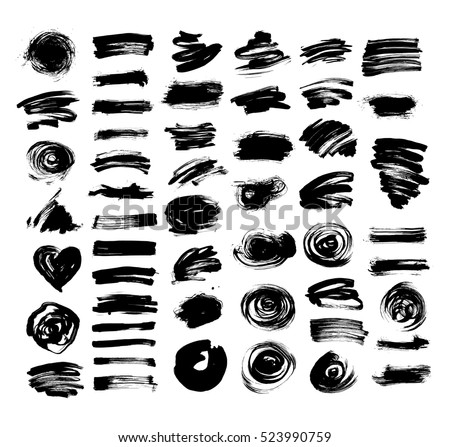 set of 52 black ink hand drawing brushes collection isolated on white background for your design, brush strokes element vector illustration