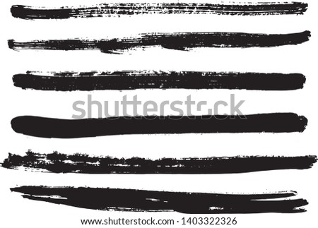 Set of black ink horizontal hand drawn brushes. Abstract isolated grunge lines, or stripes. Vector illustration.  #1403322326