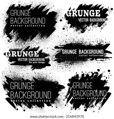 Shutterstock Set of Black ink vector stains