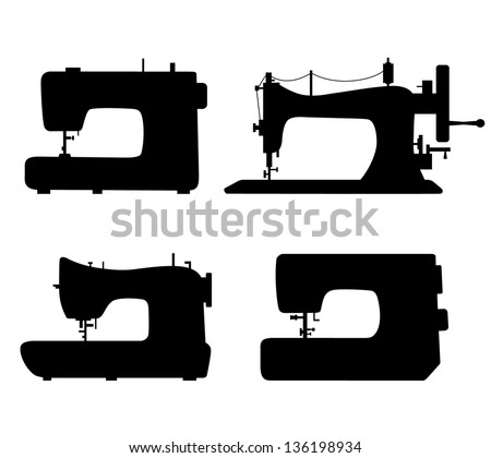 Set of black isolated contour silhouettes of sewing machines. Icons collection of stitching machines. Pictogram