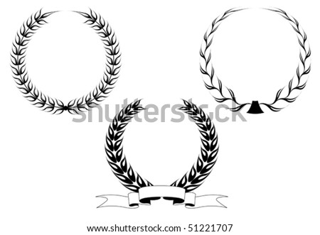 Set of black laurel wreaths isolated on white. Jpeg version also available in gallery
