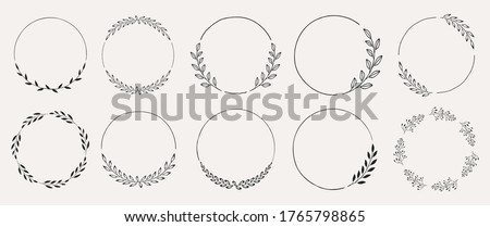 Set of black laurels frames branches. Vintage laurel wreaths collection. Hand drawn vector laurel leaves decorative elements. Leaves, swirls, ornate, award, icon. Vector illustration. Сток-фото ©