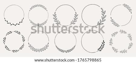Set of black laurels frames branches. Vintage laurel wreaths collection. Hand drawn vector laurel leaves decorative elements. Leaves, swirls, ornate, award, icon. Vector illustration.