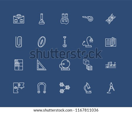 Set Of black 20 linear icons such as Chemical Test Tube, Biology Microscope, DNA Strand, Horseshoe Magnet, Puzzle Game Piece, Quaver, Rugby Ball, editable stroke vector icon pack