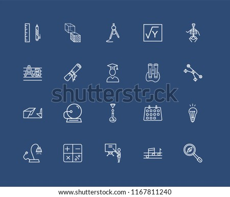 Set Of black 20 linear icons such as Geometry Cube, Quaver, Anatomy Class Skeleton, Mathematical, Reading Lamp, Idea Light Bulb, Diploma Roll, editable stroke vector icon pack