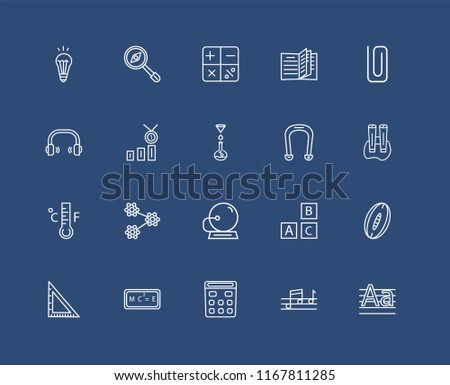 Set Of black 20 linear icons such as Magnifying Glass with Worms, Quaver, Classroom Clip, Relativity formulae, School Triangle, Rugby Ball, Class Reward, editable stroke vector icon pack