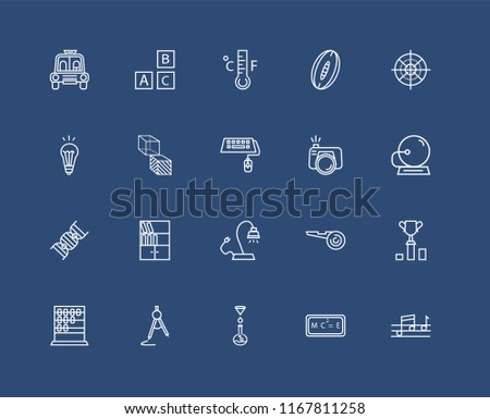 Set Of black 20 linear icons such as Quaver, School Bell, Sniper Gun Target, Rugby Ball, Abcus, Baby ABC Cubes, Football referee whistle, Idea Light Bulb, editable stroke vector icon pack