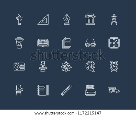 Set Of 20 black linear icons such as School bus, Pencil case, Pen, Notebook, Desk chair, Compass, Glasses, Atom, Learning, Yearbook, editable stroke vector icon pack