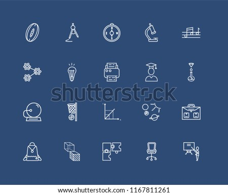 Set Of black 20 linear icons such as School Compass, Desk Chair, Quaver, Geometry Cube, Student Backpack, Briefcase, Idea Light Bulb, editable stroke vector icon pack