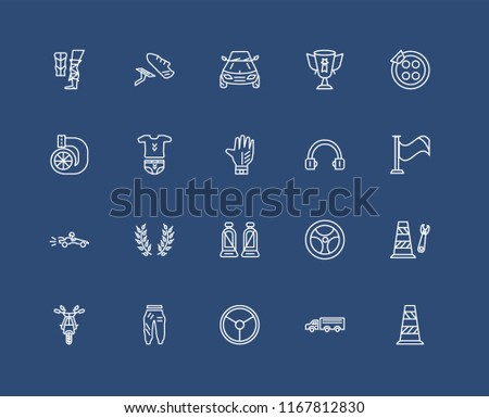 set of 20 black linear icons