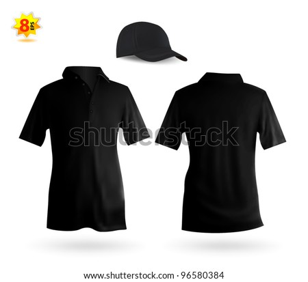 Set of black male polo and a baseball cap template.