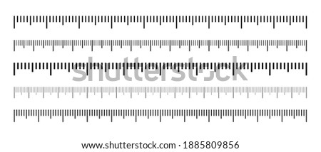 Set of black measuring scale. Marking for the ruler in centimeters and inches. Scale for rulers. Marks for tape measure and thermometer scale. Measuring tool. Size indicators.