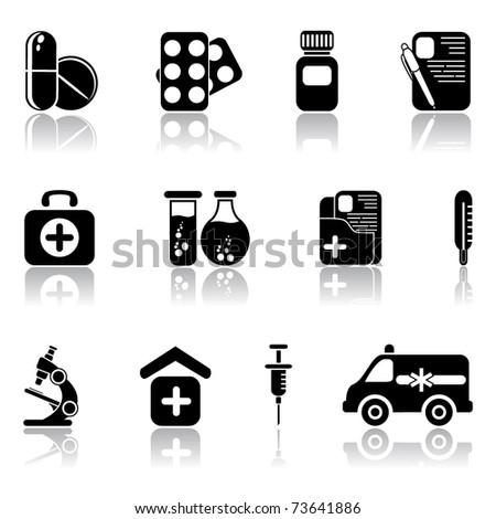 Set of black medical icons, illustration