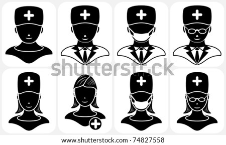 Set of black medical icons, illustration