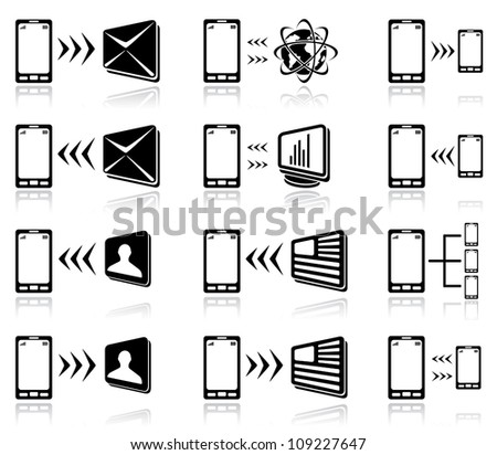 Set of black Mobile icons on white background, illustration