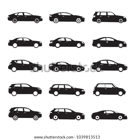 Set of black modern shapes and Icons of Cars. Vector Illustration