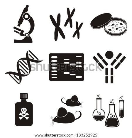 set of black molecular biology science icons on white background
