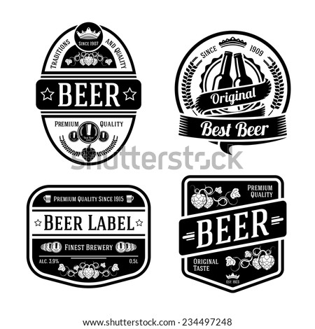 set of black monochrome beer