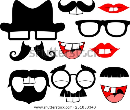 set of black mustaches and lips