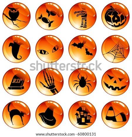 Set of 16 black-on-orange Halloween buttons (Eps10); jpg version also available