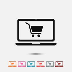 Set of: black Online shopping vector icon