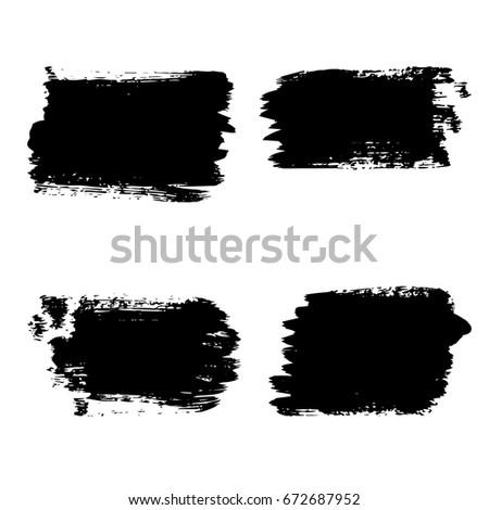 Set of black paint, ink brush grunge backgrounds. Vector Illustration. Dirty artistic design element. White Background.