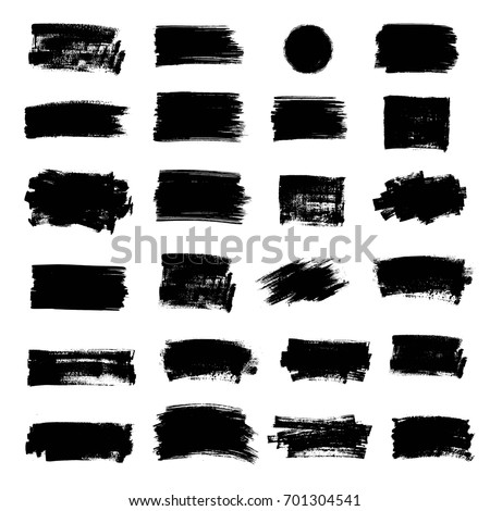 Set of black paint, ink brush strokes, brushes, lines, circle. Dirty artistic design elements, boxes, frames for text, mask.