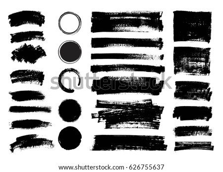 Set of black paint, ink brush strokes, brushes, lines, circles. Vector dirty, grunge artistic design elements, backgrounds, textures.