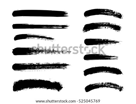 Set of black paint, ink brush strokes, brushes, lines. Dirty artistic design elements #525045769