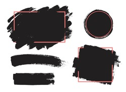 Set of black paint, ink brush strokes, brushes, lines. Dirty artistic design elements, boxes, frames for text.
