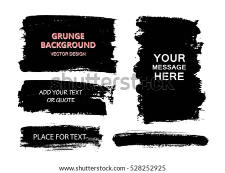 Set of black paint, ink brush strokes, brushes, lines. Dirty artistic design elements, boxes, frames, backgrounds. Place for text,  quote, information.