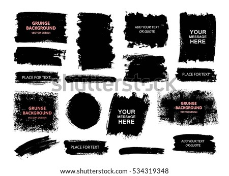 Set of black paint, ink brush strokes, brushes, lines. Dirty artistic design elements, boxes, frames.