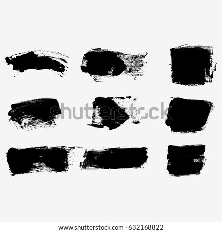 Set of black paint, ink brush strokes, brushes, lines. Dirty artistic design elements, boxes, frames for text. #632168822