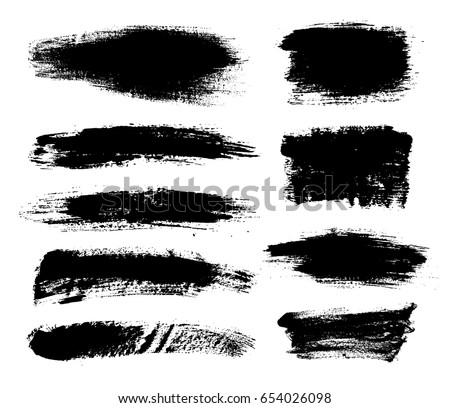 Set of black paint, ink brush strokes, brushes, lines. Dirty artistic design elements, boxes, frames for text #654026098