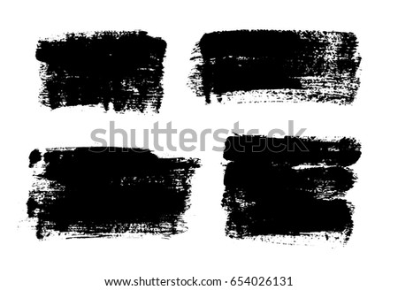 Set of black paint, ink brush strokes, brushes, lines. Dirty artistic design elements, boxes, frames for text