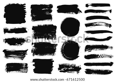 Set of black paint, ink brush strokes, brushes, lines. Dirty artistic design elements, boxes, frames for text #671612500