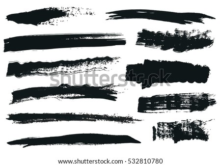 Set of black paint, ink brush strokes, brushes, lines. Dirty artistic design elements, boxes, frames