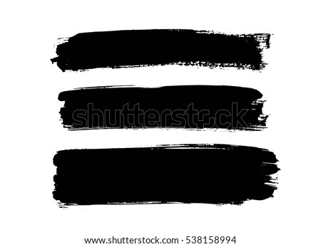 Set of black paint, ink brush strokes, brushes, lines. Dirty artistic design elements, place for text or information.