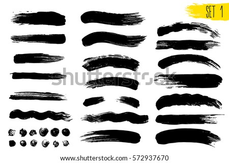 set of black paint  ink brush