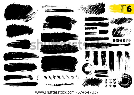 Set of black paint, ink brush strokes, brushes, lines. Dirty artistic design elements. Vector illustration. Isolated on white background. Freehand drawing. #574647037