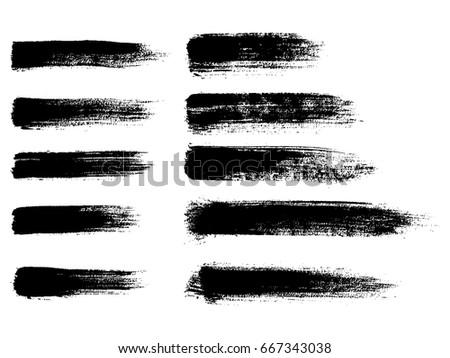 Set of black paint, ink brush strokes, brushes, lines. Dirty artistic design elements. Vector illustration