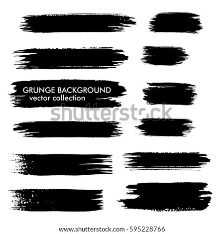 Set of black paint, ink brush strokes, brushes, lines. Grunge design elements, boxes, frames for text. Vector illustration.