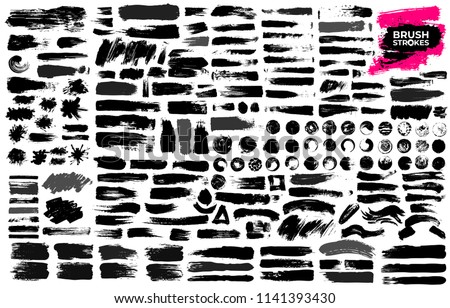 Set of black paint, ink brush strokes, brushes, lines, grungy. Dirty artistic design elements, boxes, frames. Freehand drawing. Vector illustration. Isolated on white background.