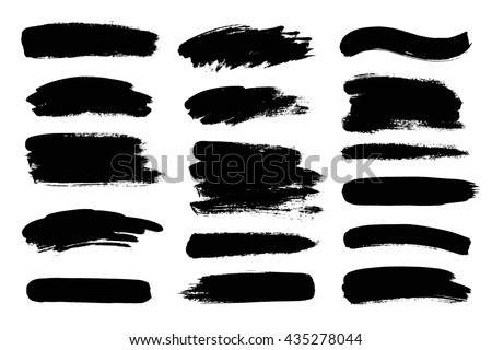 Set of black paint, ink brush strokes. Dirty artistic design elements #435278044