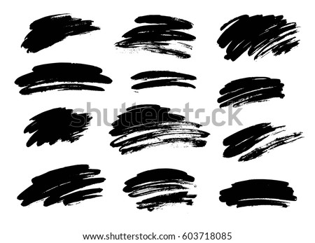 Set of black paint, ink brush strokes. Dirty artistic design elements, backgrounds, textures.