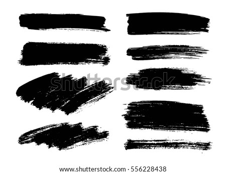 Set of black paint, ink brush strokes. Dirty artistic design elements, boxes, frames, backgrounds, textures.