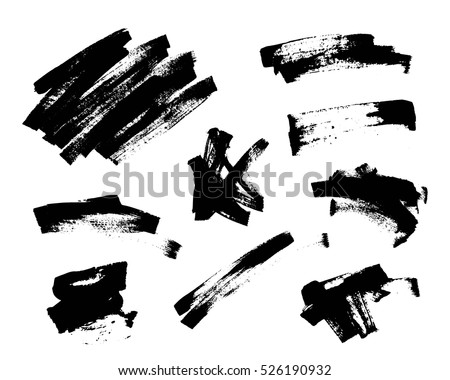 Set of black paint, ink brush strokes, grunge, dirty artistic design elements.