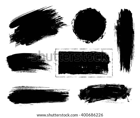 Set of black paint, ink, grunge, dirty brush strokes.  #400686226