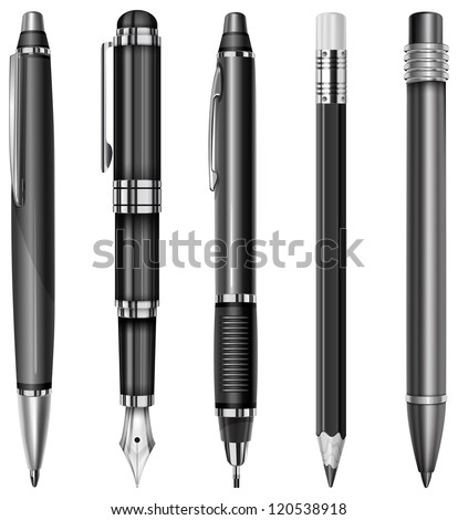 Set of black pens and pencils isolated on white, vector illustration