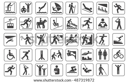 Set of black people and sport pictogram vector  Stock photo ©